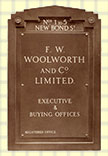 The nameplate for the F.W. Woolworth & Co. Ltd.'s Buying Offices at 1-5 New Bond Street, London W1, its British headquarters