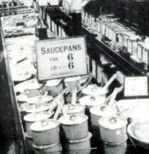 "Saucepans and lids sold separately at sixpence (2½p) each.  One of the ways that Woolworths stuck to their ""Nothing over 6D"" slogan for a staggering 31 years."