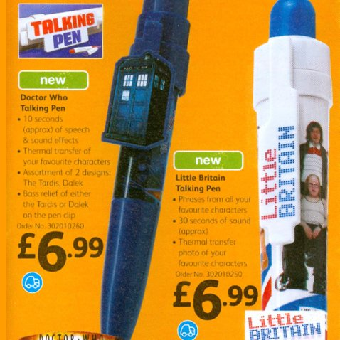 Talking pens from Woolworths - featuring the BBCs popular Doctor Who and Little Britain programmes - £6.99 each in 2006
