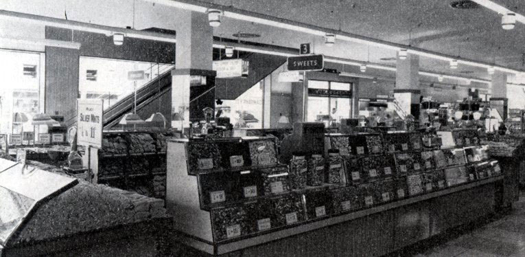 Woolworth's first ever self-service pic'n'mix counter - pictured not in a British store, but tucked away in the Commonwealth in the new superstore in Salisbury, Rhodesia (Harare, Zimbabwe)