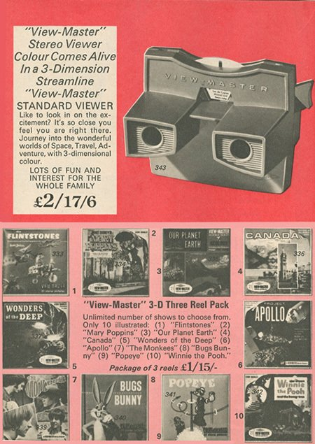 New in the 1960s was the Viewmaster - a 3D slide viewer.  One of the best selling reels (packs of pictures) depicted the Apollo space programme