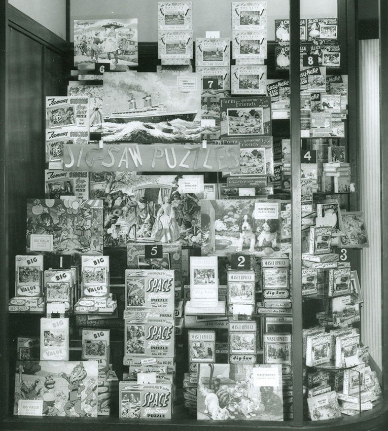 Space jigsaws had pride of place in this 1955 Woolworth window display
