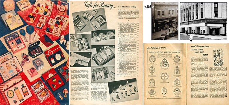 Example spreads from the 1939 Woolworth catalogues published in the USA and the UK, with photographs of the York PA and Hammersmith, London stores inset.