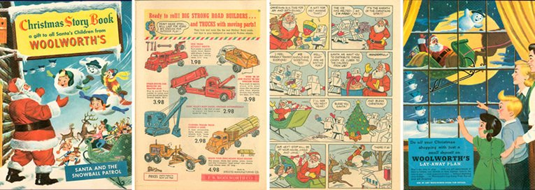 The US Woolworth's Catalogue for 1953 was presented in comic-strip format with product advertisements interwoven with cartoons. The firm's goal was to increase sales through kids pester-power!