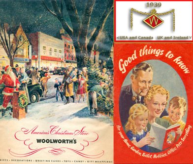 War and peace in stark contrast in Woolworth's two 1939 Christmas catalogues from opposite sides of the Atlantic - on the left the first full colour product catalogue from North America, on the right the British Good Things To Know magazine concentrated on make do and mend, military insignia and the blackout