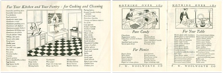 Example page spreads from the F. W. Woolworth 1929 Home Shopping Guide, showing the breadth of range available in the Main Street stores in the USA and Canada