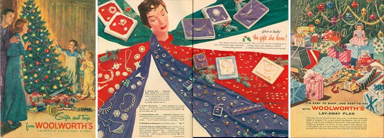 The F. W. Woolworth Co. 1955 Catalogue had a traditional Christmas theme, with a mix of conventional photographic spreads and more avante-garde fashion pages
