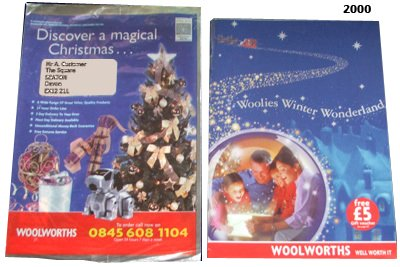 Woolworths Christmas Catalogues for 2000 - with a small teaser catalogue sent to subscribers by post and a larger catalogue available for collection in-store. The duplicaton between catalogues of the previous two years had finally been addressed